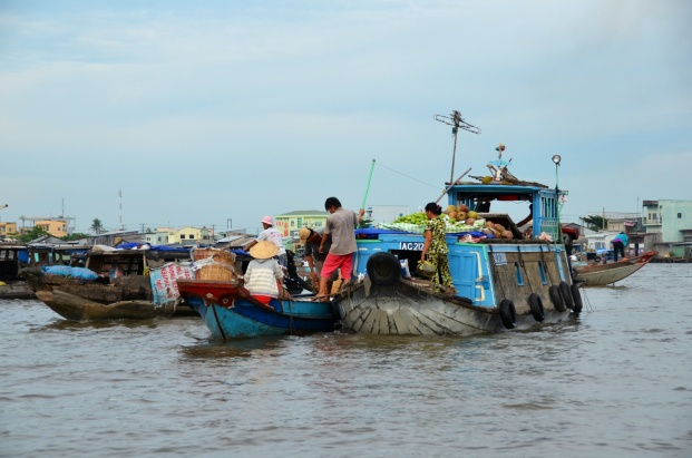 Moving fruit from the larger boats to the smaller ones