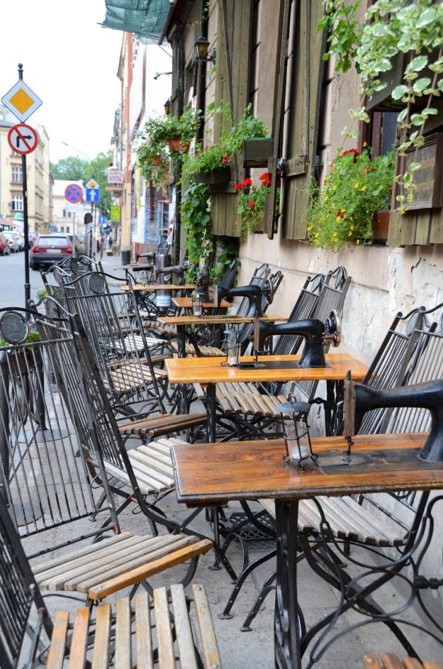 Krakow - cafe tables  old Singer machines