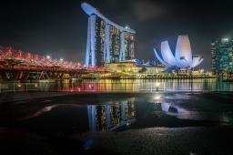 marina-bay-sands-helix-bridge-artscience-night-photography-singapore-reflection