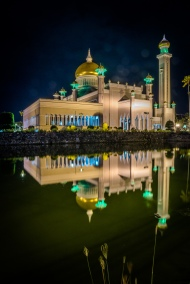 Omar Ali Saifuddien Mosque at Night