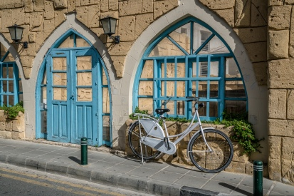 blue-doors-bicycle-larnaca-cyprus