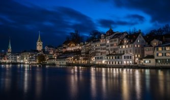 buildings-limmat-river-nighttime-refections-zurich
