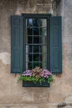 gray-shutters-flower-boxes-cement